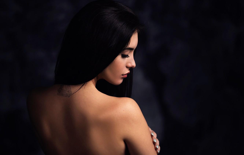 Photo wallpaper girl, background, back, tattoo, profile