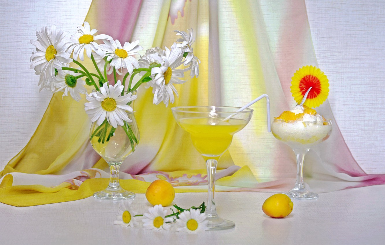 Photo wallpaper summer, flowers, chamomile, bouquet, juice, ice cream, still life, drinks, dessert, apricots, bouquets, the competition
