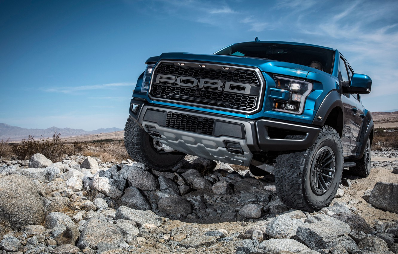 Photo wallpaper Ford, front view, Raptor, pickup, F-150, SuperCrew, 2019