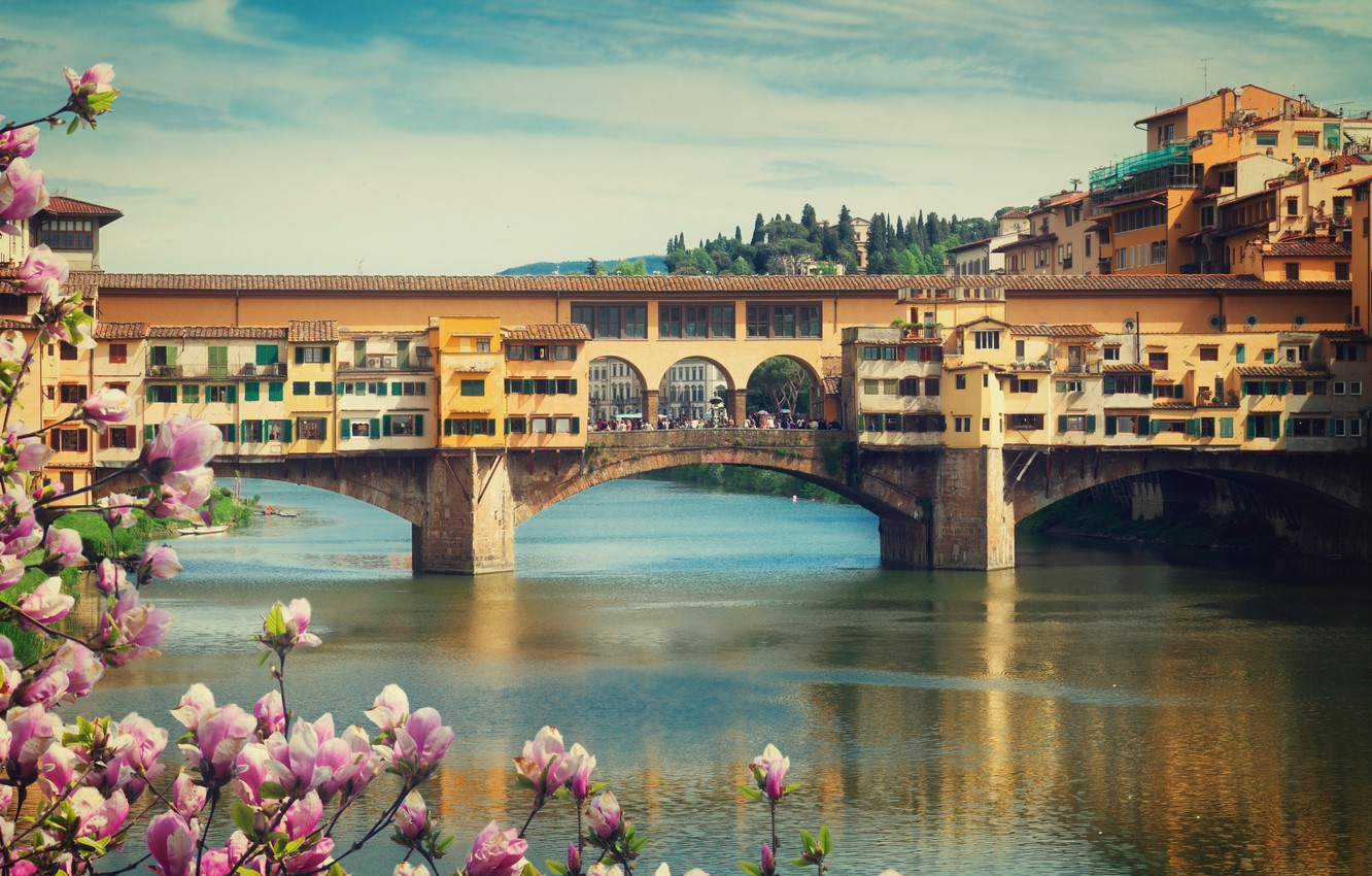 Photo wallpaper bridge, city, the city, spring, Italy, Florence, flowering, Italy, bridge, panorama, Europe, view, Florence, cityscape, …