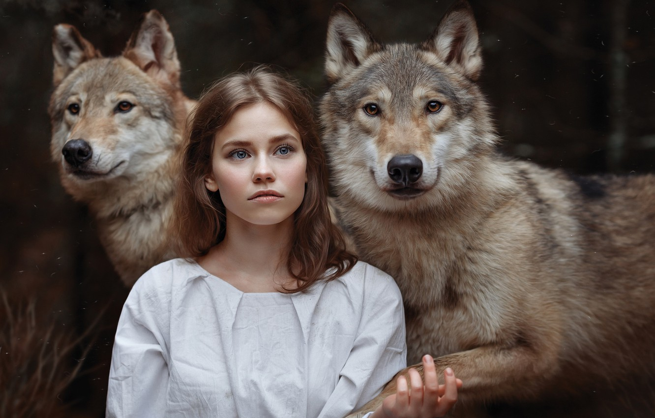 Photo wallpaper girl, wolves, friends, the girl and the wolves, Svetlana Nicotine