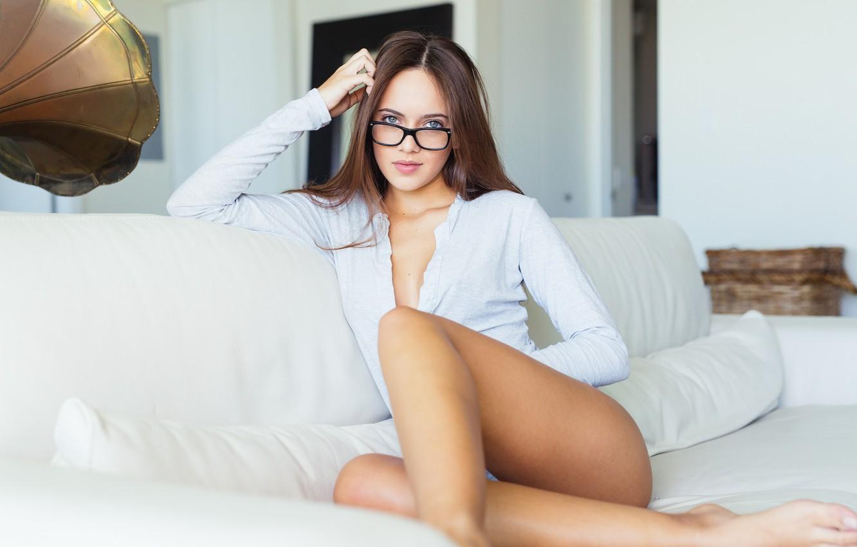 Photo wallpaper Girl, White, Sofa, Room, Spectacles