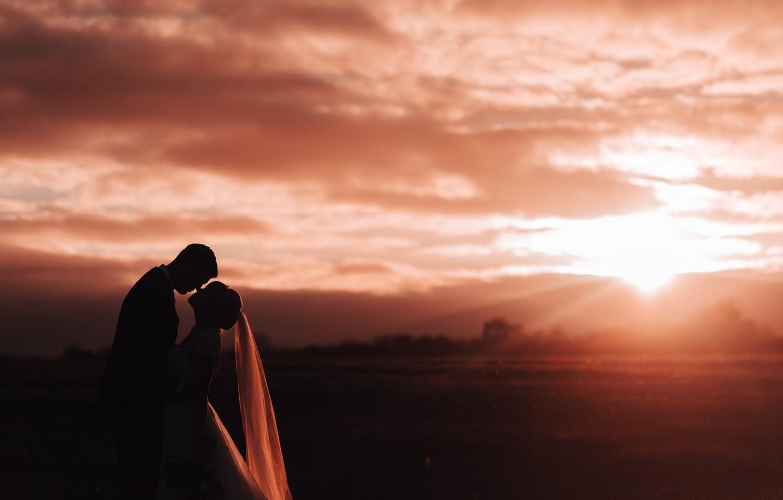 Photo wallpaper girl, love, sunset, family, guy, lovers, two, the bride, veil, the groom