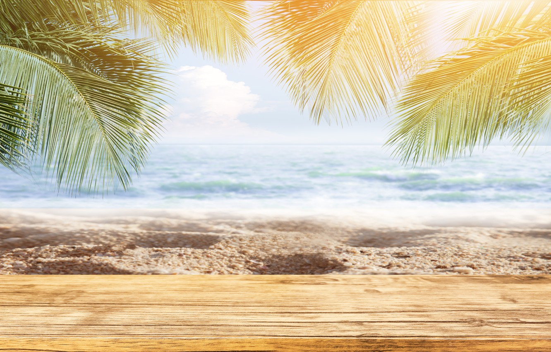 Photo wallpaper sand, sea, wave, beach, summer, the sun, palm trees, summer, beach, sea, sand, paradise, palms, …