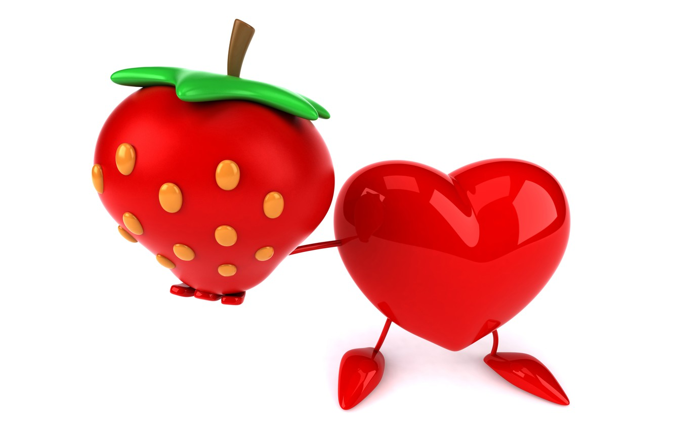Photo wallpaper heart, strawberry, heart, strawberry, funny, rendering, 3D Art