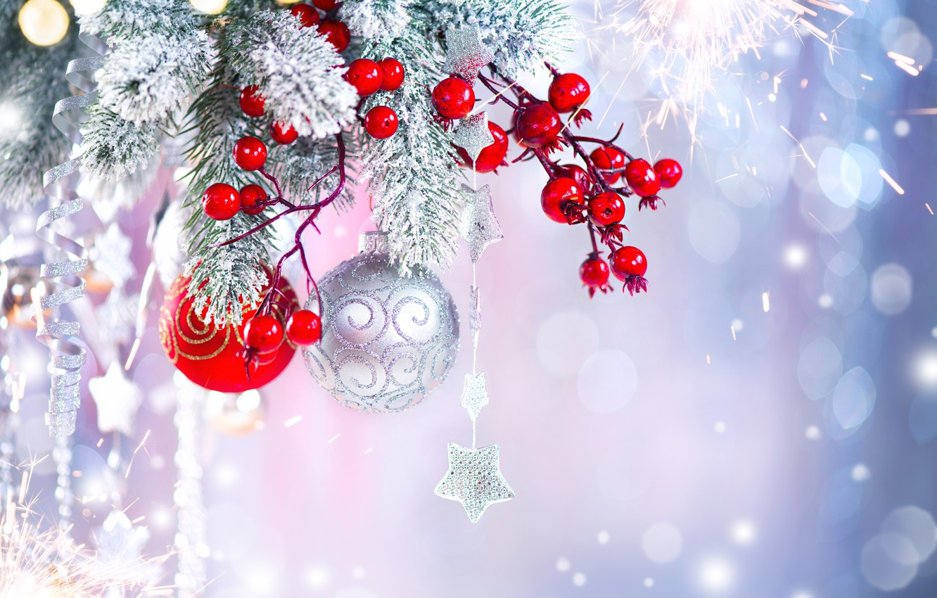 Photo wallpaper decoration, berries, holiday, balls, toys, new year, spruce, asterisk