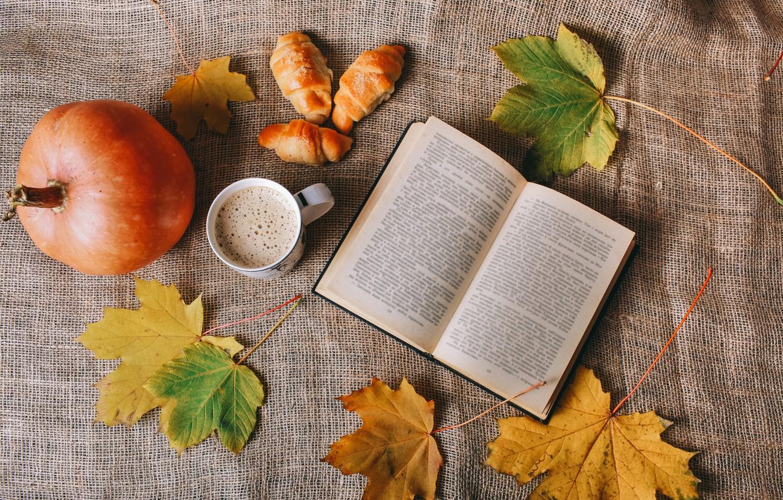 Photo wallpaper leaves, Coffee, pumpkin, book