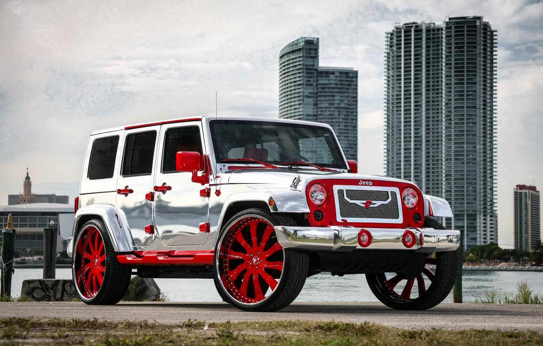 Photo wallpaper wheels, with, Wrangler, Jeep, chrome, complete, forgiato, exterior, wrap