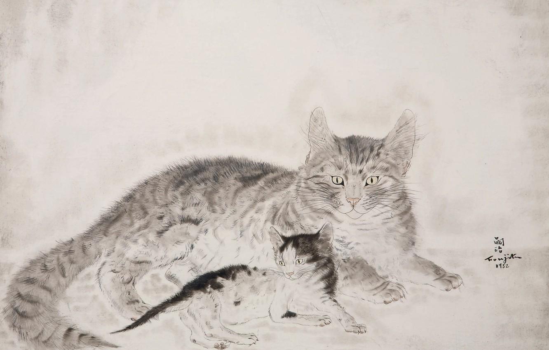 Photo wallpaper black and white, 1932, Tsuguharu, Fujita, Cat with kitten