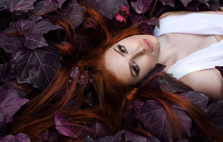 Photo wallpaper look, leaves, face, mood, hair, makeup, Alessandro Di Cicco, Valentina Galassi