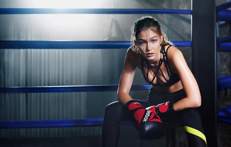 Photo wallpaper model, Boxing, training, Gigi Hadid