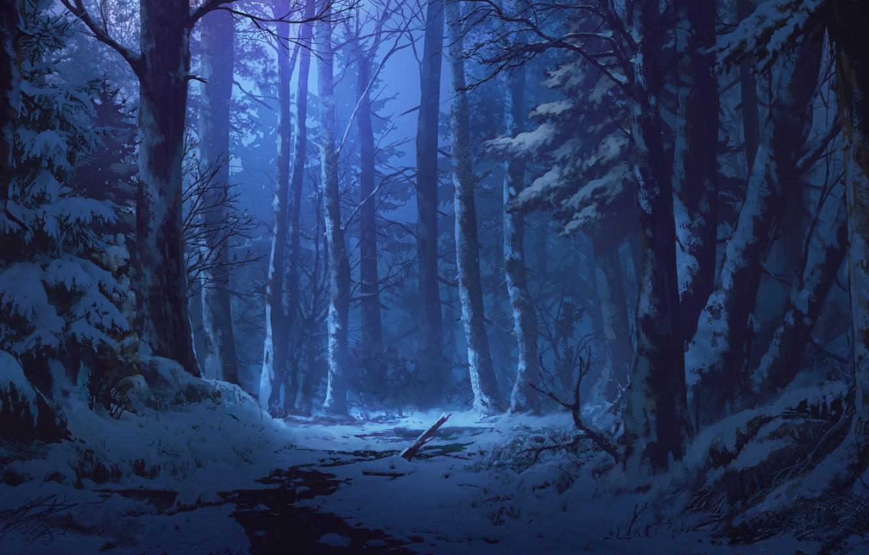 Photo wallpaper snow, stream, twilight, art, winter forest, Iku Can To Ada