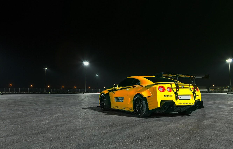 Photo wallpaper light, night, lights, yellow, tuning, photographer, GTR, Nissan, track, Qatar, Paddy McGrath