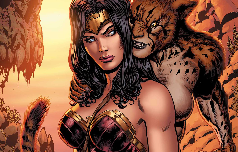 Photo wallpaper Hair, Hero, Comic, Brunette, Wonder Woman, Superhero, Hero, Brunette, Villain, Cheetah, DC Comics, Diana, Diana, …