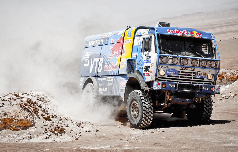 Photo wallpaper Auto, Dust, Sport, Machine, Master, Kamaz, Rally, Dakar, KAMAZ, 502, Master, Redbull