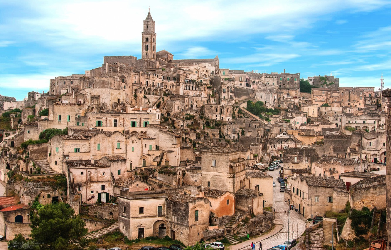 Photo wallpaper mountain, home, Italy, street, Apulia, Mater, Matera in