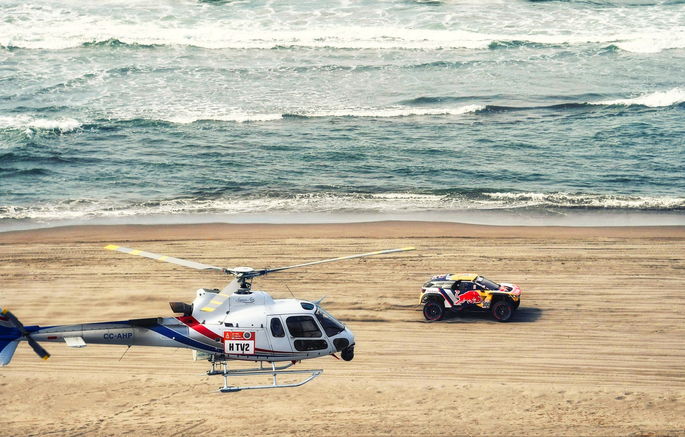 Photo wallpaper Sand, The ocean, Sea, Beach, Auto, Wave, Sport, Machine, Speed, Helicopter, Race, Peugeot, Red Bull, …