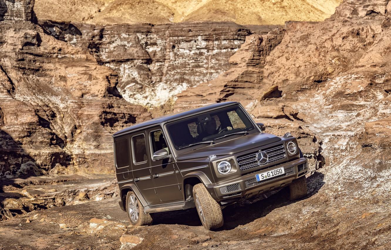 Photo wallpaper movement, Mercedes-Benz, SUV, brown, breed, 2018, G-Class, quarry