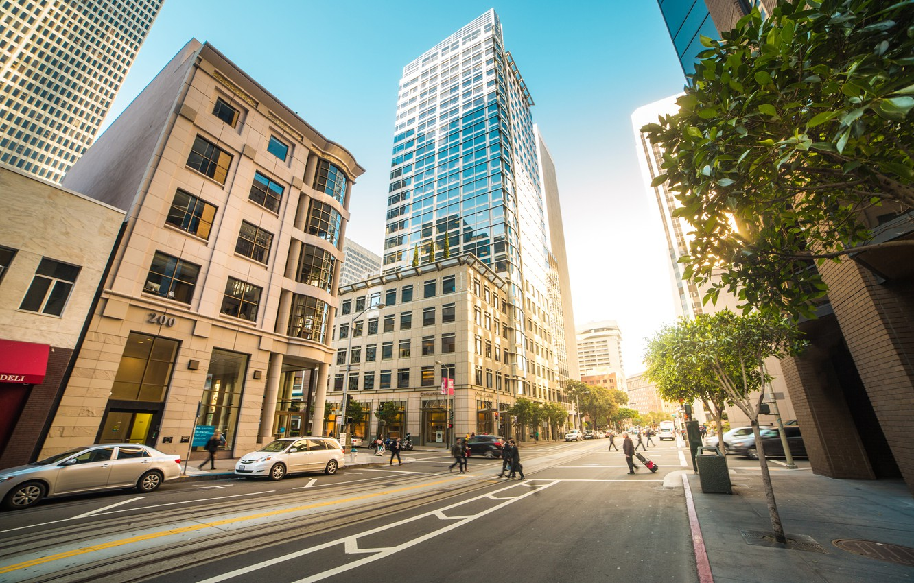 Photo wallpaper road, the sky, trees, machine, the city, people, street, building, the sidewalk, San Francisco, roadway, …