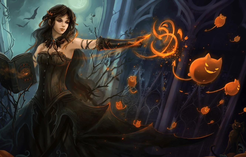 Photo wallpaper girl, fiction, magic, art, witch