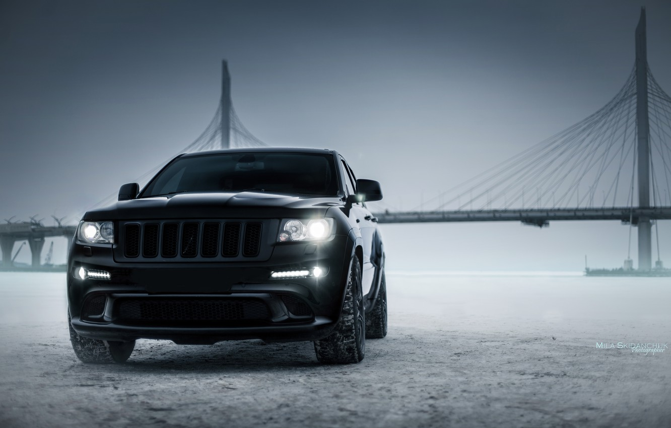 Photo wallpaper car, machine, auto, city, car, car, srt, cars, auto, bridge, winter, jeep, grand cherokee, jeep …
