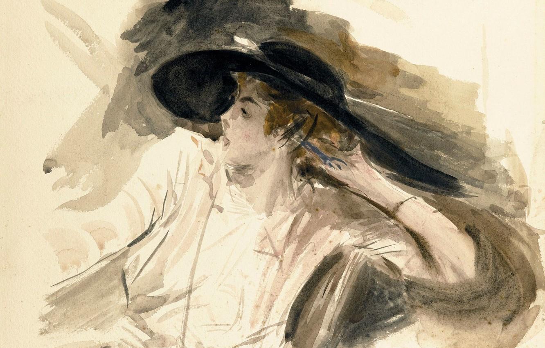 Photo wallpaper figure, portrait, watercolor, Giovanni Boldini, Giovanni Boldini, Young Woman in Big Hat