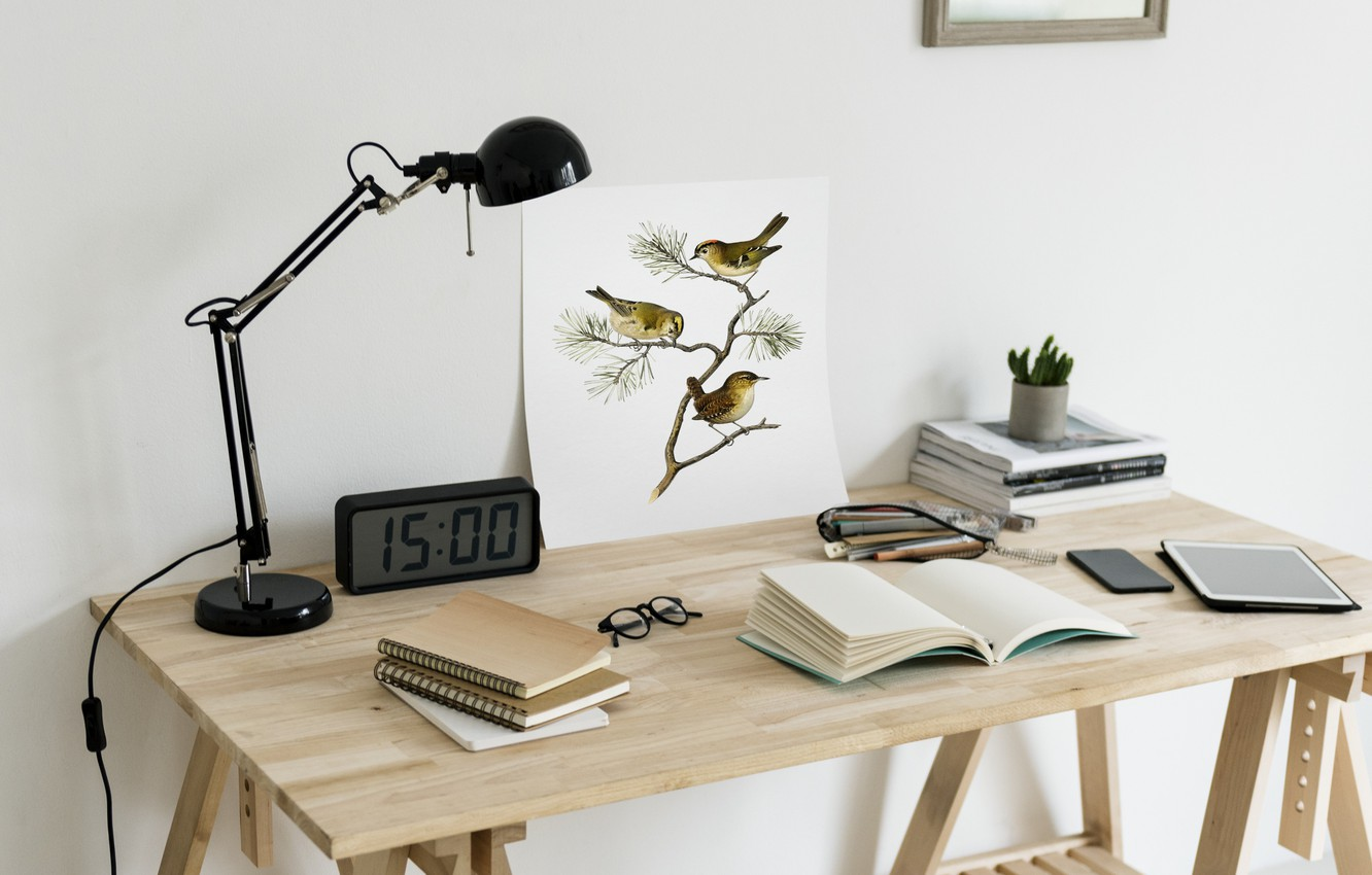 Photo wallpaper Design, Watch, Table, Lamp, Interior, Tablet, Notebook