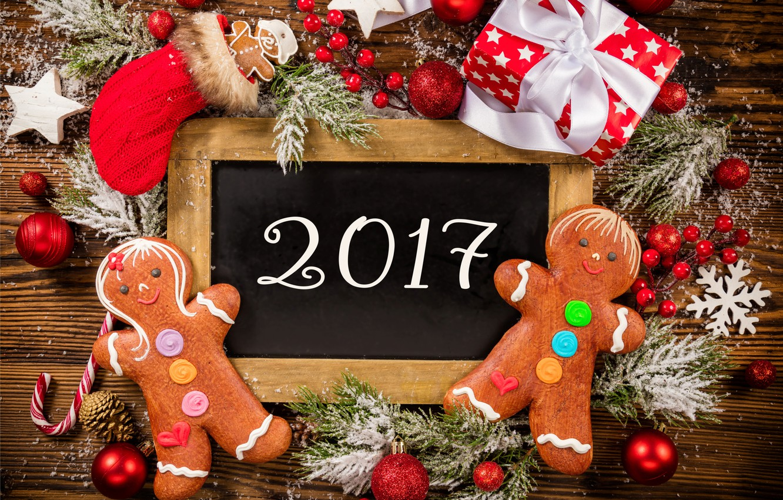 Photo wallpaper New Year, Christmas, christmas, balls, merry christmas, gift, decoration, xmas, gingerbread, 2017
