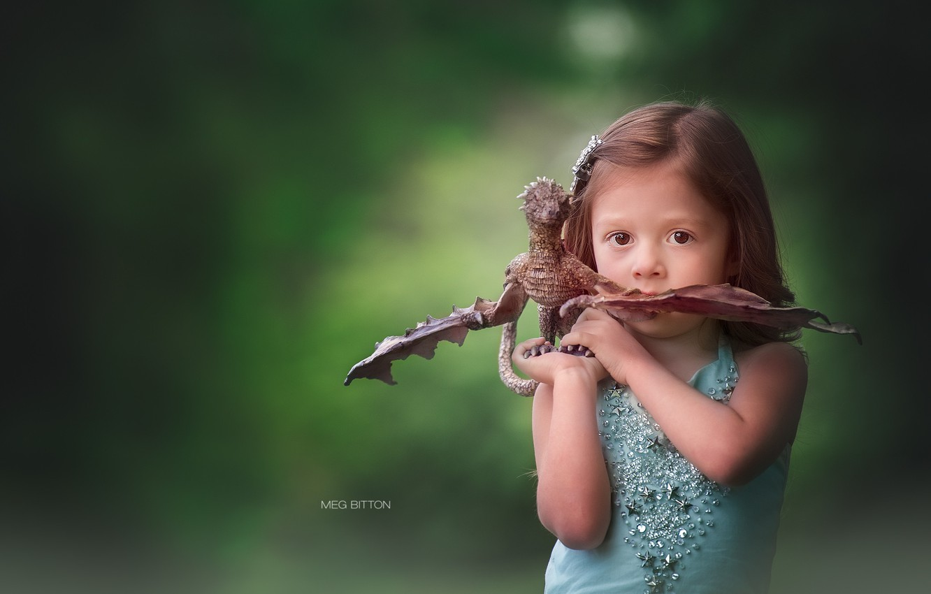 Photo wallpaper look, background, toy, girl, dragon