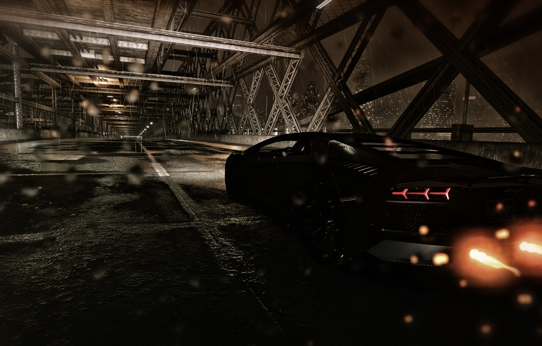 Photo wallpaper road, drops, night, bridge, the city, rain, the game, Lamborghini, flash, exhaust, aventador, Matt, the …