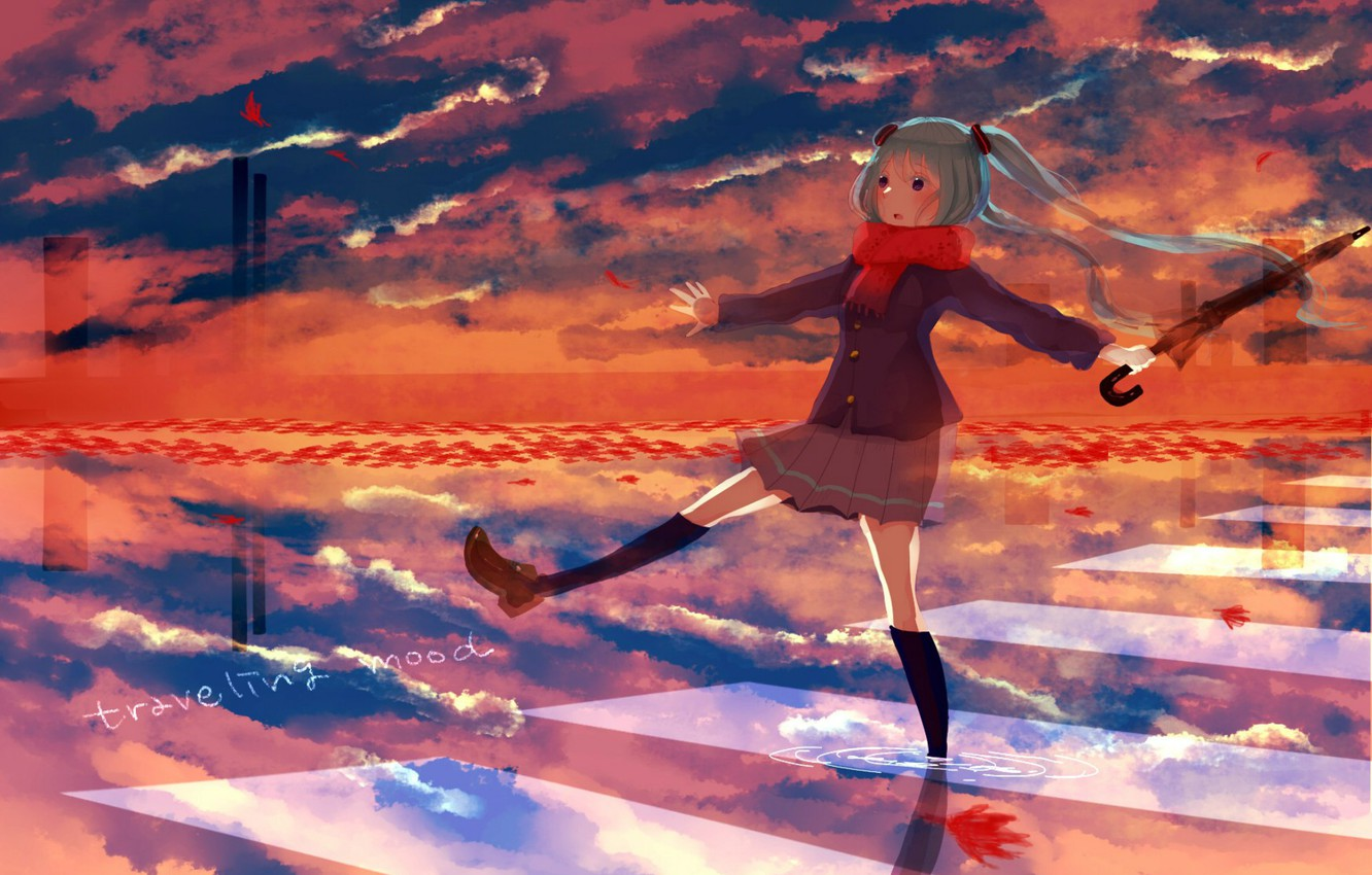 Photo wallpaper autumn, the sky, water, reflection, umbrella, scarf, puddle, the transition, knee, vocaloid, Hatsune Miku, Vocaloid, …