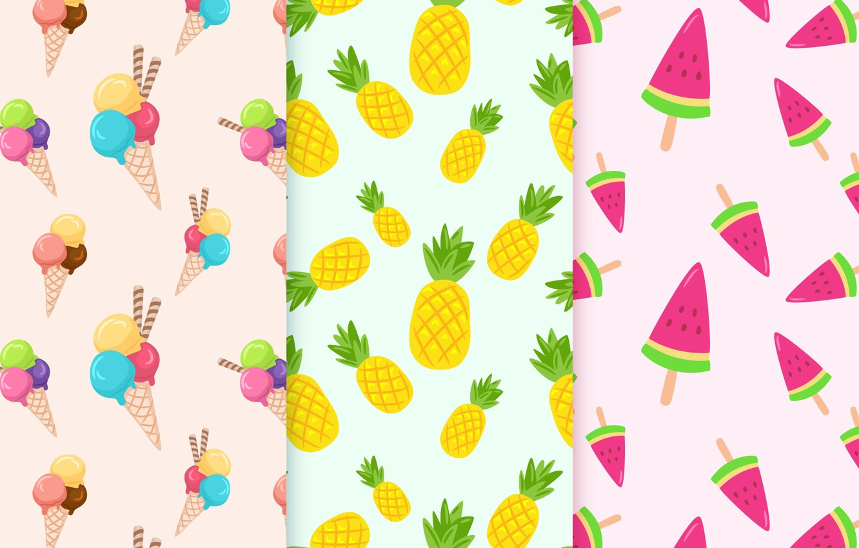 Photo wallpaper vector, texture, fruit, fruit, ice cream, Patterns