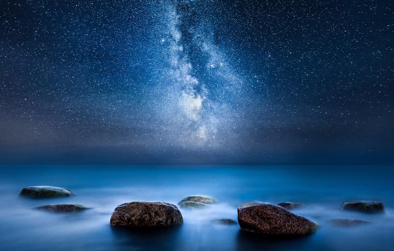 Photo wallpaper sea, night, stones, stars, the milky Way