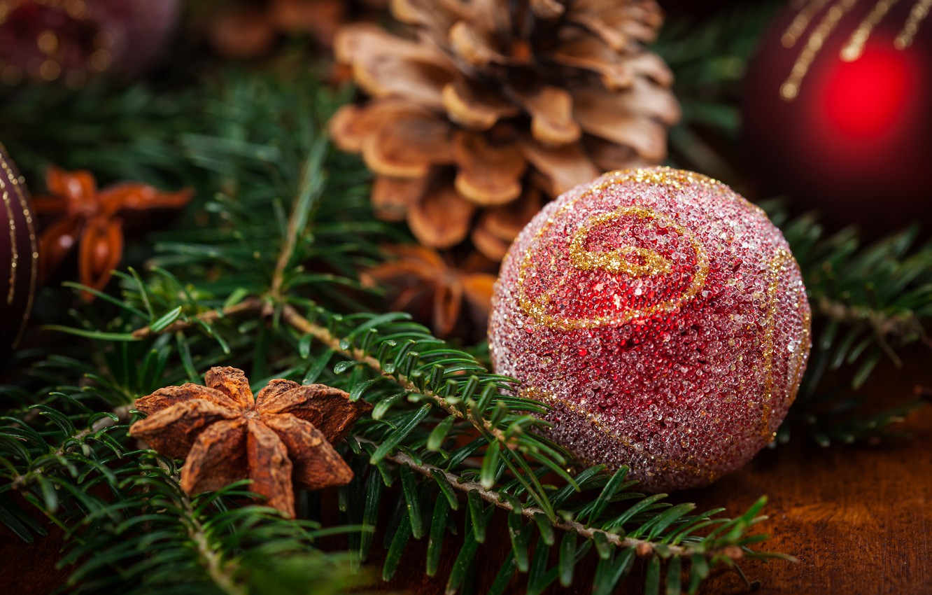 Photo wallpaper holiday, toy, new year, ball, spruce, cinnamon
