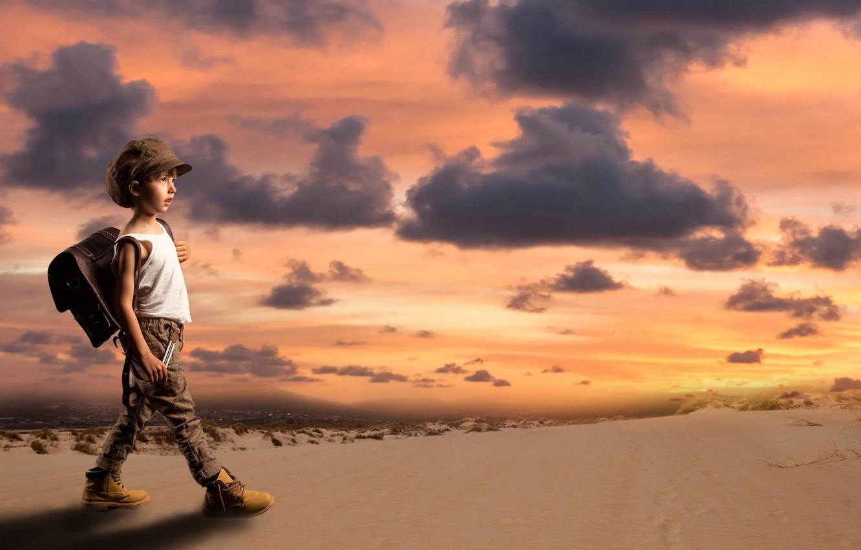 Photo wallpaper sand, sunset, desert, the situation, boy, cap, satchel