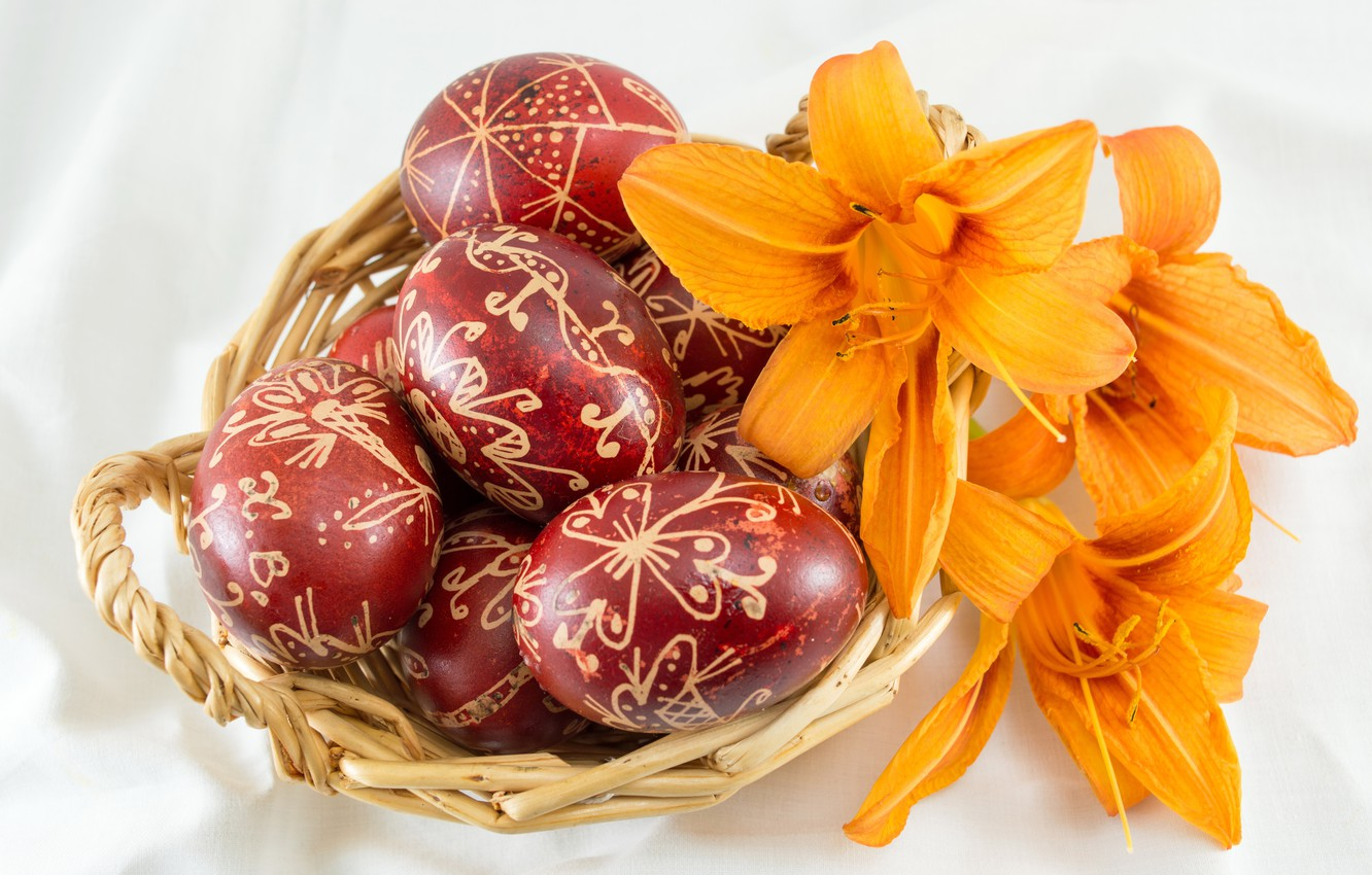 Photo wallpaper Lily, eggs, Easter, basket