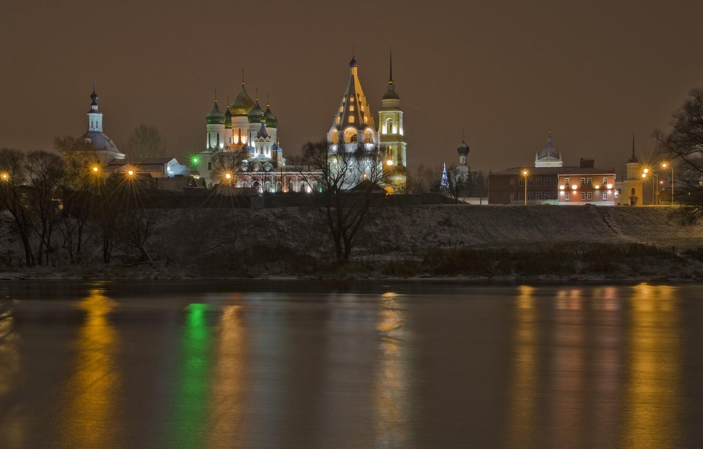 Photo wallpaper winter, the evening, The city, Kolomna