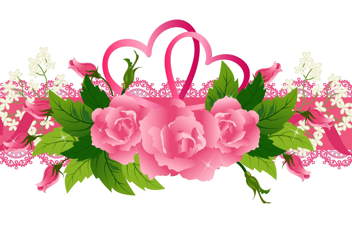 Photo wallpaper flowers, background, roses, tape, Valentine's day