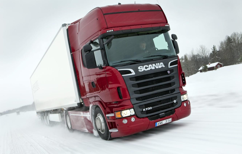 Photo wallpaper truck, in motion, Truck, Scania, Scania, R730, the truck, Topline