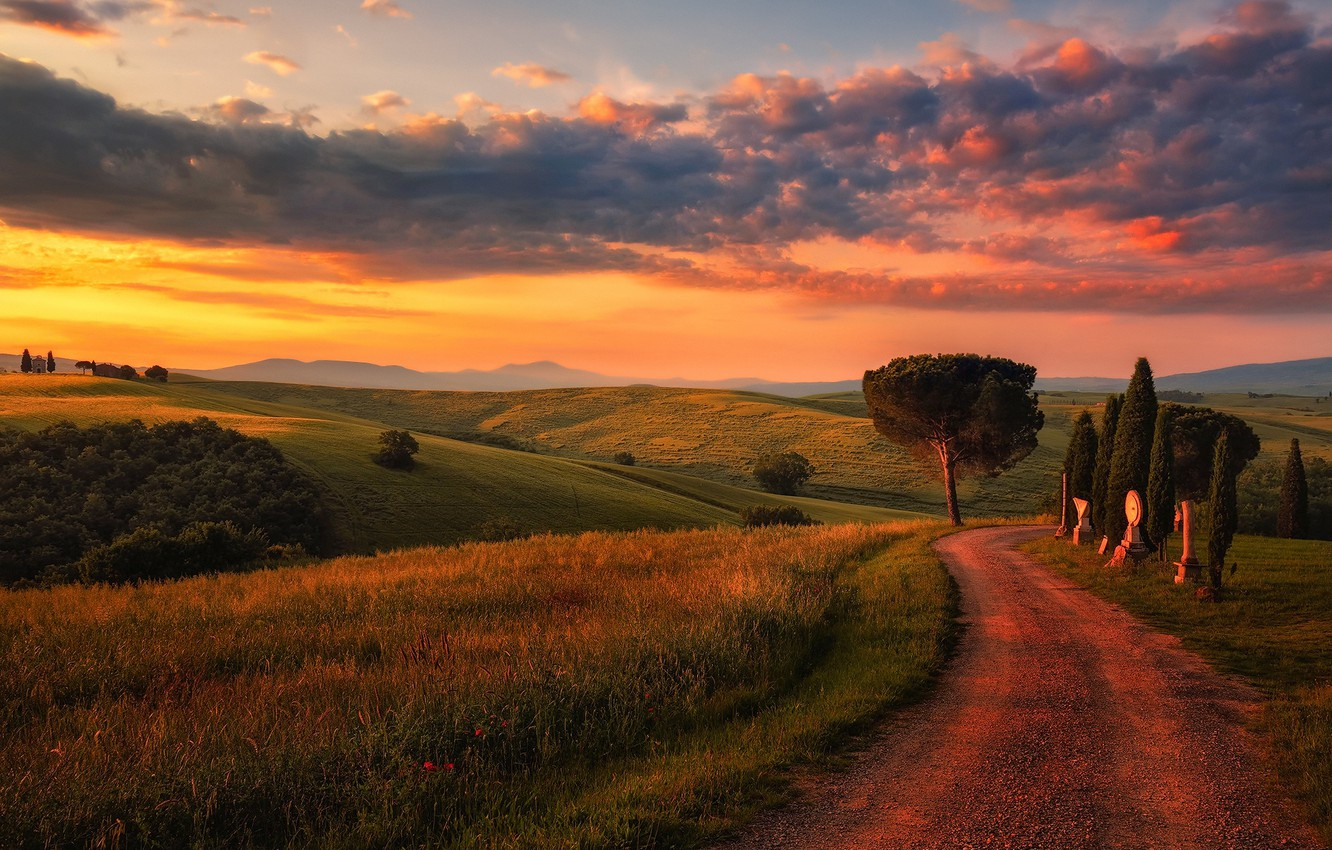 Photo wallpaper road, the sky, clouds, light, field, the evening, morning, Italy, Tuscany