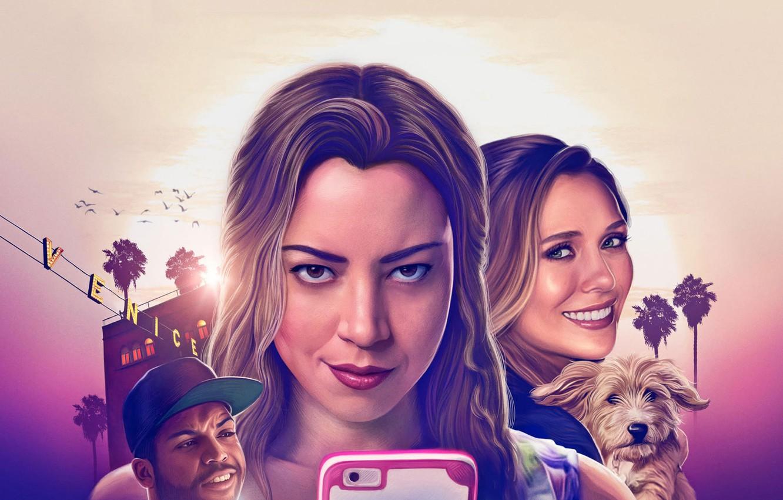 Photo wallpaper cinema, girl, dog, man, movie, blonde, film, smartphone, Elizabeth Olsen, Aubrey Plaza, Ingrid Goes West, ...