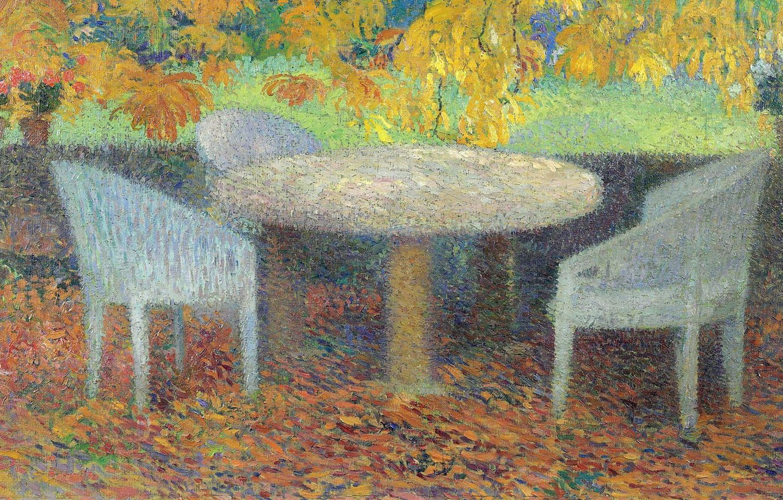 Photo wallpaper furniture, picture, genre, Henri-Jean Guillaume Martin, Henri Matrin, A big Table under a Chestnut tree