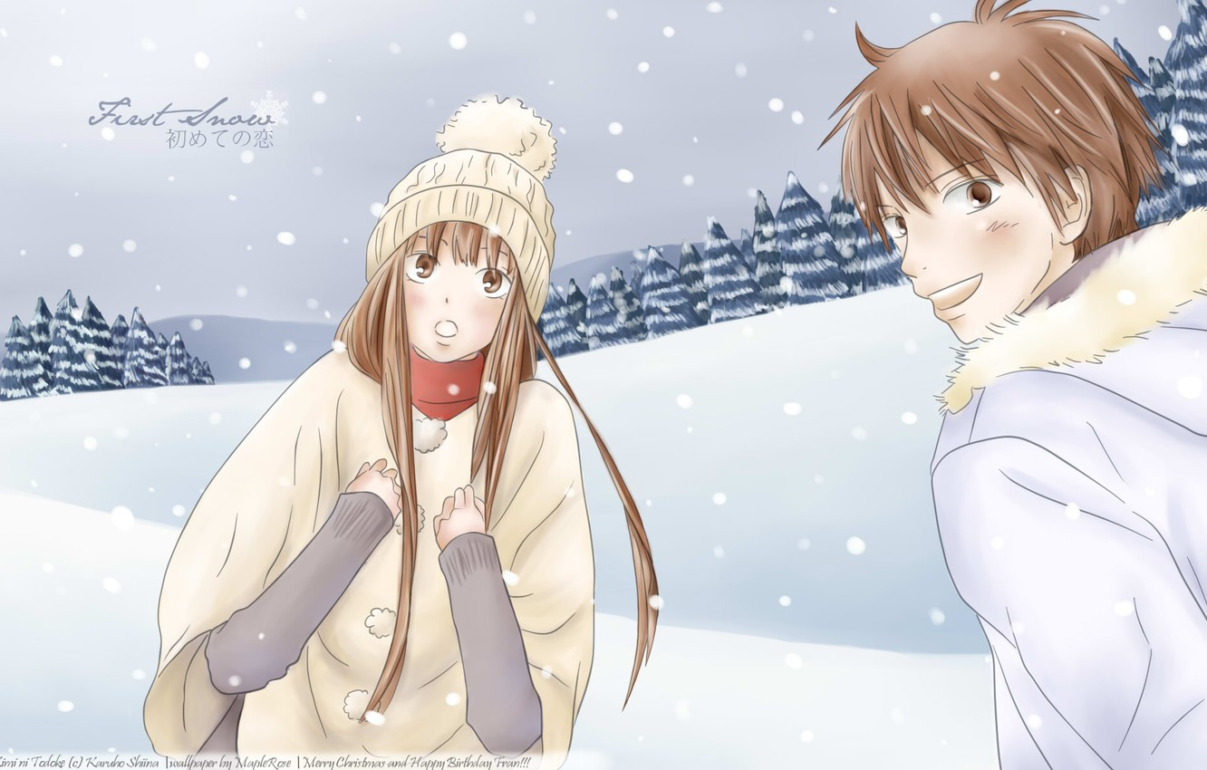 Photo wallpaper winter, anime, art, two, kimi ni todoke