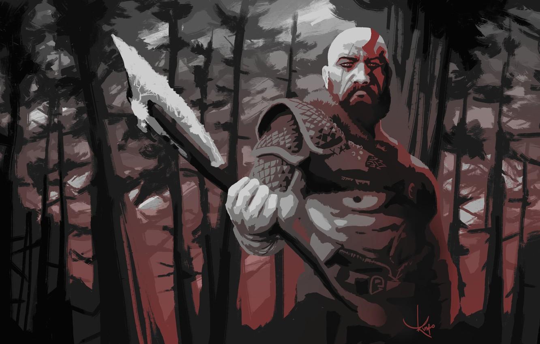 Wallpaper axe, demigod, armor, Kratos, God of War, man, hero, God