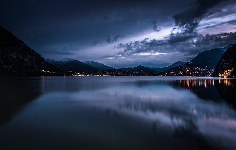 Photo wallpaper Clouds, Sky, Water, Morning, Lake, Rainy