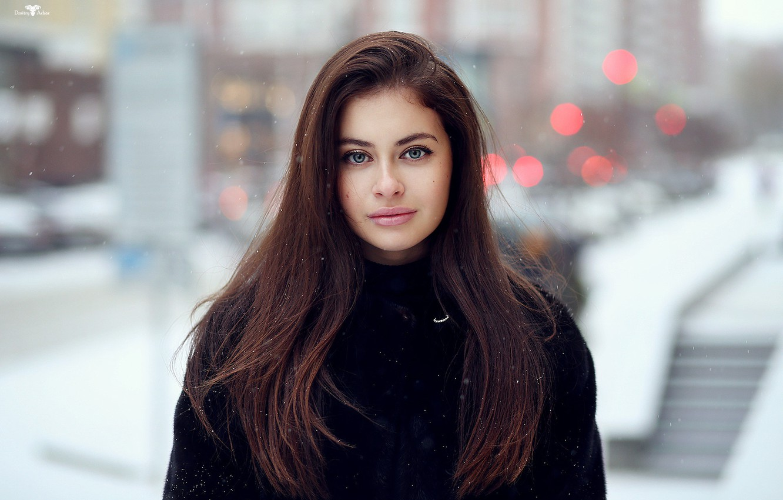 Photo wallpaper winter, snowflakes, portrait, makeup, Alina, hairstyle, coat, brown hair, beauty, bokeh, Dmitry Arhar