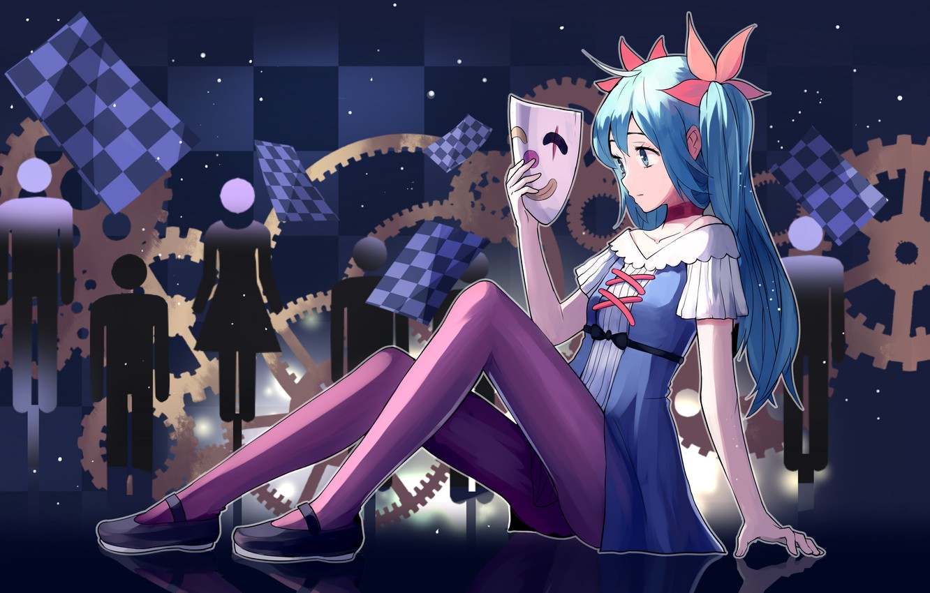 Photo wallpaper girl, pose, background, hair, mask, vocaloid
