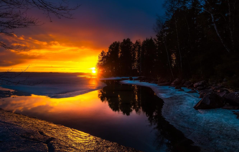 Photo wallpaper winter, sunset, nature, river, shore