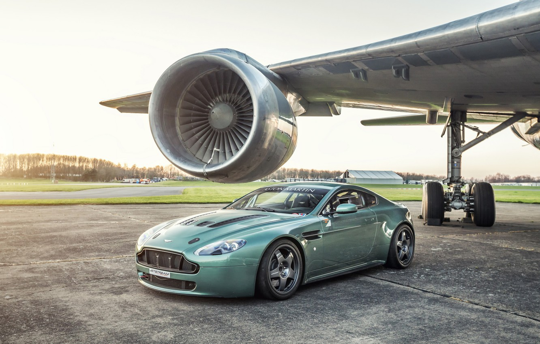 Photo wallpaper Vantage, Aston martin, airplane, turbine