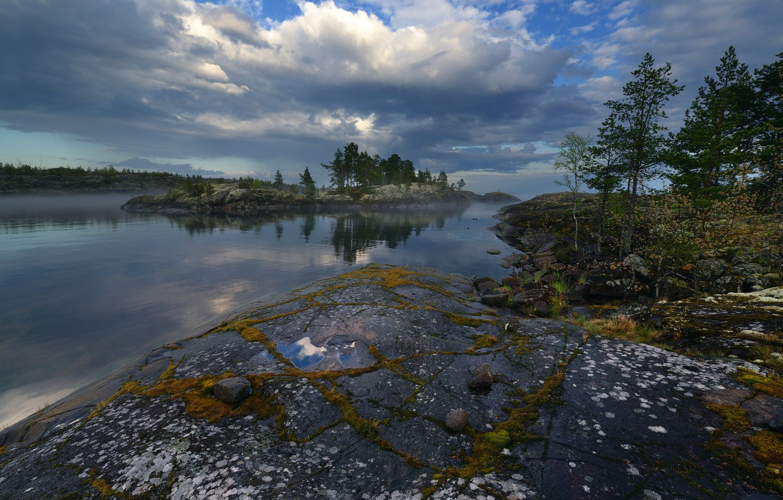 Photo wallpaper nature, fog, stones, North, Ladoga